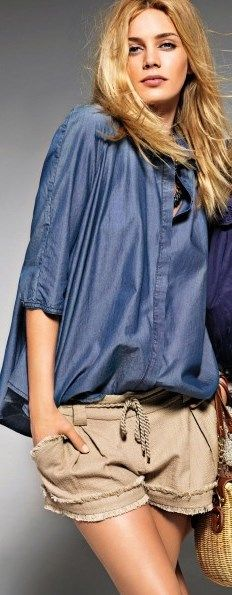 Liu Jo Jeans S/S 2013. Over-sized blue shirt