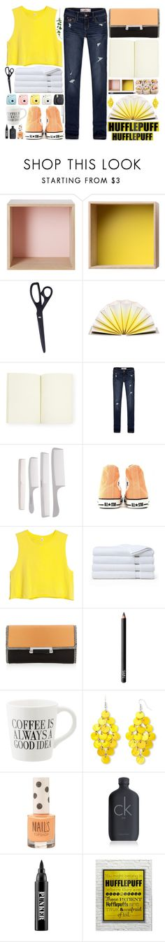 """Hufflepuff Fun"" by allamess ❤ liked on Polyvore featuring Muuto, HAY, House of Waris RARE, Hollister Co., Fuji, Converse, H&M, Brooks Brothers, Diane Von Furstenberg and NARS Cosmetics"