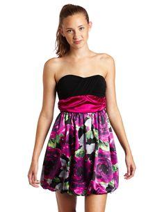 Byer Juniors Print Charmeuse Strapless Dress