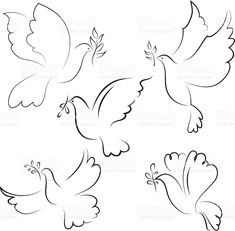 Dove royalty-free dove stock vector art & more images of animal Nursery Patterns, Nursery Prints, Bird Drawings, Easy Drawings, Dove With Olive Branch, Olive Branches, Dove Drawing, Dove Tattoos, Baby Cartoon