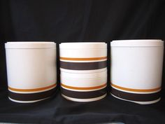Ransburg Canister Set, Orange Stripe, Stacking Storage, 1970's Metal Canisters, Vintage Canister, Retro Kitchen Decor, Modern, Set of 4 Tin, by LuckyPennyTrading on Etsy