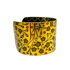 Boho Fashion - Floral Print - Brass Cuff Bracelet - Floral Pattern - Romantic Jewellery - Black Flowers - Limited Edition Jewellery