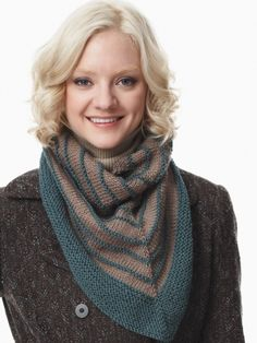 Cozy Striped Kerchief | Yarn | Free Knitting Patterns | Crochet Patterns | Yarnspirations