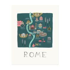 Illustration de Rome créée à partir d'une peinture originale à la gouache par Anna Bond. Imprimé sur papier velin blanc naturel, aux États-UnisPrésenté sous film de protectionFormat : 28 x 35 cmOn aime, on recommande :un travail très original sur les grandes villes.