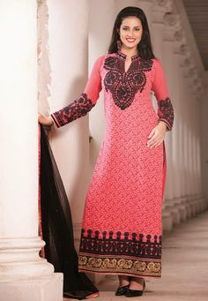 A dazzling Pink Color Pure Georgette & Santoon Designer Salwar Kameez featuring a heavy leaf patterened embroidery and a densely embroidered yoke