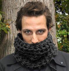 Mens Cowl neck scarf warmer scarflette charcoal by HookedWear