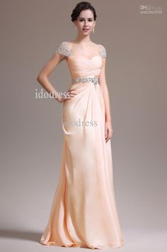 Wholesale Prom Dress - Buy Best Capped Prom Dresses 2014 Brand Design Sweetheart Chiffon Sheath Column Beads Ruffle Evening Gowns Yk-8A32, $148.0 | DHgate