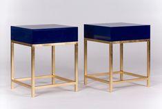 Gold Leaf Bedside Tables with Blue Gloss Drawers #luxury #bedsidetables #goldleaf #bedroomfurniture #interiordesign #bespokefurniture #madeinengland #madetoorder