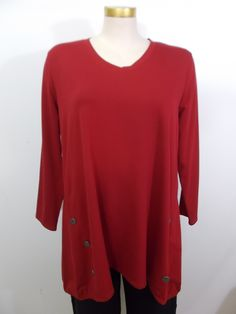 Chalet - French Terry Ruby V-Neck Button Detail Riley Tunic