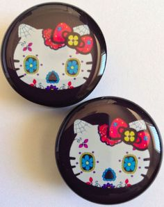 Day of the Dead / Sugar Skull Hello Kitty Plugs (Available in Sizes 6-24 mm) in Jewelry & Watches, Fashion Jewelry, Body Jewelry   eBay