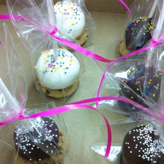 Cake pops on cookies... For kids table at wedding reception