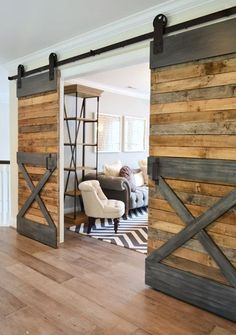 Add the farmhouse style to your home with these sliding barn door ideas! There are so many barn door styles and barn door designs to choose from so use our guide to help you decide the right barn door decor for you. Sweet Home, Diy Casa, Young House Love, Home And Deco, My New Room, Design Case, Sliding Doors, Front Doors, My Dream Home