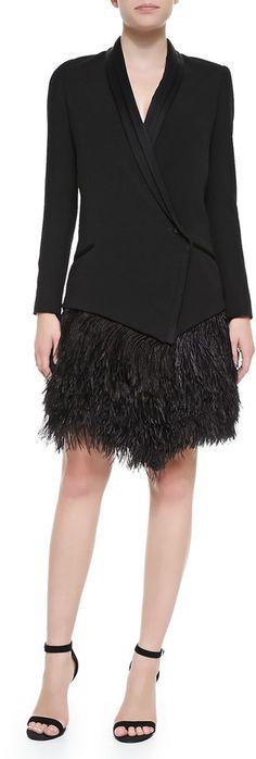 Haute Hippie Feather-Bottom Crepe Tux Blazer Dress