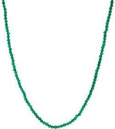 """JAI Sterling Silver 18"""" Green Agate Bead Necklace"""