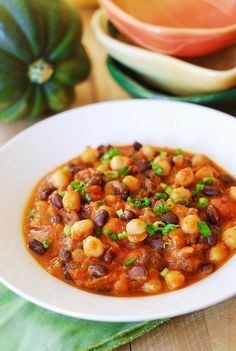 Vegan GF Pumpkin Chili - use full spice amounts, add full cans of beans, tomatoes and pumpkin