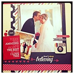 Disney Wedding - Scrapbook.com- A beautiful Disney wedding layout using the Say Cheese collection by Simple Stories
