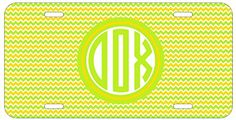 Personalized Monogrammed Chevron Yellow Green License Plate Auto Tag Top Craft Case http://www.amazon.com/dp/B00N024Q3C/ref=cm_sw_r_pi_dp_2xotub09C8JVY