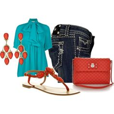 Turquoise and Coral, created by marycreates on Polyvore