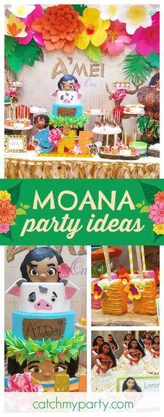 B Das Hd E's Birthday / Moana Hawaiian Luau - Moana Birthday Party at Catch My Party Moana Themed Party, Moana Birthday Party, Moana Party, Luau Birthday, 6th Birthday Parties, Birthday Ideas, Party Fiesta, Festa Party, Luau Party