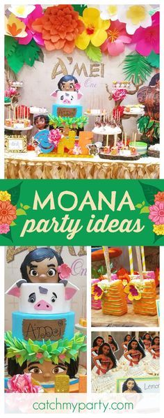 Take a look at this exotic Moana 1st birthday party! The floral backdrop is amazing!! See more party ideas and share yours at CatchMyParty.com