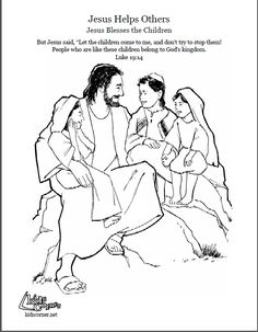 jesus and the little children coloring page audio bible story and script available at - Jesus Children Coloring Page