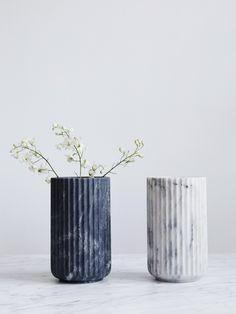 Lyngby Marble vase from Artilleriet Black Vase, Green Vase, White Vases, Vase Centerpieces, Vases Decor, Old Vases, Large Vases, Wooden Vase, Pottery Vase