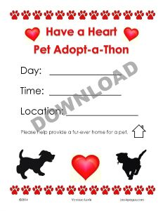 Free Printable Adopt-a-Thon poster for Dramatic Play Pet Shelter #preschool #kindergarten