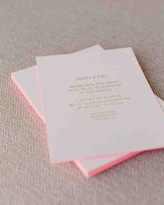 Pink edging pops on these invites and the gold foil lettering shimmers. Consider pairing bold neons with simple metallics or black or gray inks on a letterpressed stationery suite.