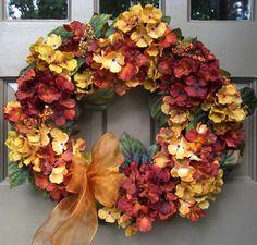 Golden Fall Hydrangea Wreath - Creative Decorations by Ridgewood Designs