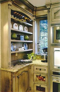 Corner Cabinet with window ...good reference on this cabinet configuration with wall ovens?