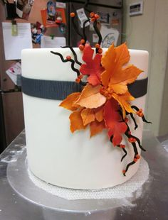 Simple elegance! Fall Cake by Gateaux Inc.