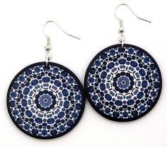 Elegant round dangle, navy blue earrings by JewelryByJolanta