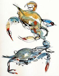 Blue crabs x 2 - beautiful loose watercolor sketches - Fun thing - Watercolor Trees, Watercolor Sketch, Watercolor Animals, Watercolor Illustration, Abstract Watercolor, Watercolor Paintings, Simple Watercolor, Tattoo Watercolor, Watercolor Background