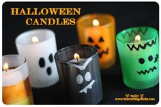 Painted Halloween candles. Super cute!