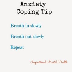 Anxiety coping tip Anxiety Panic Attacks, Mental Health Disorders, Tips, Inspiration, Biblical Inspiration, Counseling, Motivation