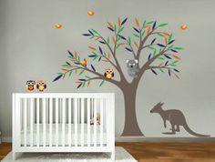 Kids tree vinyl wall decal with birds owls Koala bear and Kangaroo too cute Childrens Wall Decals, Dinosaur Wall Decals, Nursery Wall Decals, Vinyl Wall Decals, Wall Stickers, Room Themes, Nursery Themes, Nursery Ideas, Room Ideas