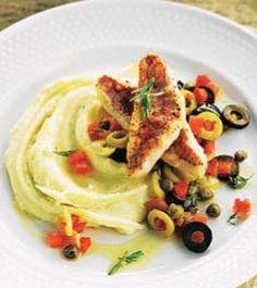 Salmonetes con puré de patata y picada andaluza #cuisine #recipes