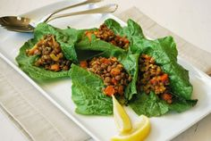 """Curried Lentil Lettuce Cups from page 170 in my new book #SlimDownNow. Along with this dish you also get to include 1 of the 4 """"energy accessory"""" options (or half portions of two), such as fresh fruit, a whole grain (like adding wild rice), a starchy vegetable (such as serving with a side of fingerling potatoes), or pulse (serving with oven roasted chickpeas). #Pulses #CleanEating #Recipes #Nutrition #Healthy #WeightLoss #CynthiaSass #PlantBased #GlutenFree"""