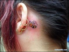 bubble bee  tattoo pictures behind ear, small