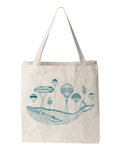 Vintage WHALE BALLOON Parachute Tote Bag Canvas by FreeBirdCloth, $15.00