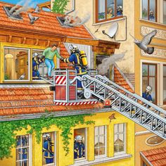 Puzzle 3 X 49 Pièces : Les Pompiers Au Travail - Taille : TU Phonological Processes, People Who Help Us, Picture Composition, Picture Writing Prompts, Hidden Pictures, Community Helpers, Speech Therapy Activities, Puzzle, Speech And Language