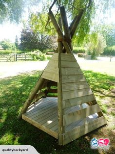 Kids outdoor wooden Teepee Playhouse for sale on Trade Me, New Zealand's auction and classifieds website Diy Backyard Fence, Backyard Toys, Backyard Swings, Backyard Ideas For Small Yards, Backyard Playhouse, Build A Playhouse, Backyard Playground, Backyard For Kids, Outdoor Toys