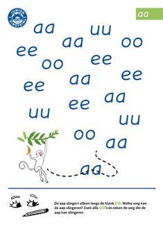 Op dit werkblad ga je oefenen met de klank aa. De aap slingert alleen langs de klank aa. Welke weg kan de aap slingeren? Zoek alle klanken aa en teken de weg die de aap kan slingeren. Als je hiermee oefent, word je beter in het herkennen van klanken. Hierdoor zul je beter worden in het lezen en schrijven van woorden en zinnen. Early Literacy, Preschool Learning, Home Schooling, 4 Kids, Spelling, Homeschool, Letters, Activities, Dyslexia