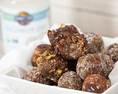 These yummy little bites are chock full of protein and delicious goodness including Enjoy Life mini chocolate chips! Sweet Recipes, Whole Food Recipes, Dessert Recipes, Yummy Recipes, Healthy Recipes, Raw Vegan Desserts, Vegan Foods, Mini Chocolate Chips, Melting Chocolate