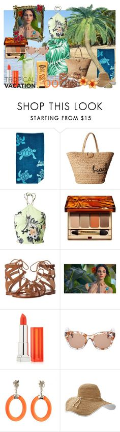 """""""Tropical Paradise"""" by veronica-h ❤ liked on Polyvore featuring Northpoint, Hat Attack, Hawaiian Tropic, Miss Selfridge, Clarins, Frye, Maybelline, Wildfox, Alexis Bittar and Frontgate"""