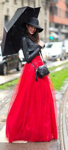 i like the long red skirt