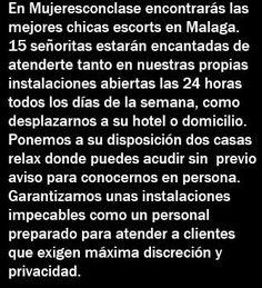 15 chicas escorts atienden las 24 horas en la mejor casa relax. Tarifas desde 60 euros. Escort service en Malaga, Torremolinos, Benalmadena y Fuengirola. http://mujeresconclase.com