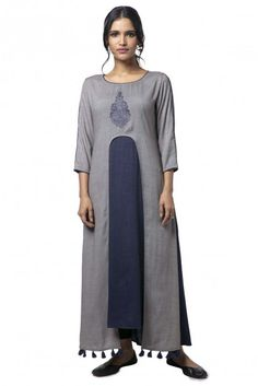 Add this edgy navy blue and grey cotton A-line Kurti paired with black ankle length leggings to your wardrobe and keep the compliments flowing in. This stylish kurti can be worn at parties, bruch and various festivities as well. Printed Kurti, Printed Cotton, A Line Kurti, Indigo Prints, Ankle Length Leggings, Kurti Neck, Cotton Fabric, Navy Blue, Tunic Tops