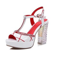 BalaMasa Ladies Crystal Heels Studded Rhinestones Metal Buckles Cow Leather Sandals * For more information, visit now : Hiking sandals