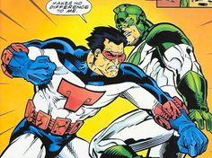 Smasher of the Shi'ar Imperial Guard vs Captain Marvel in his original Kree uniforn - Marvel Comics